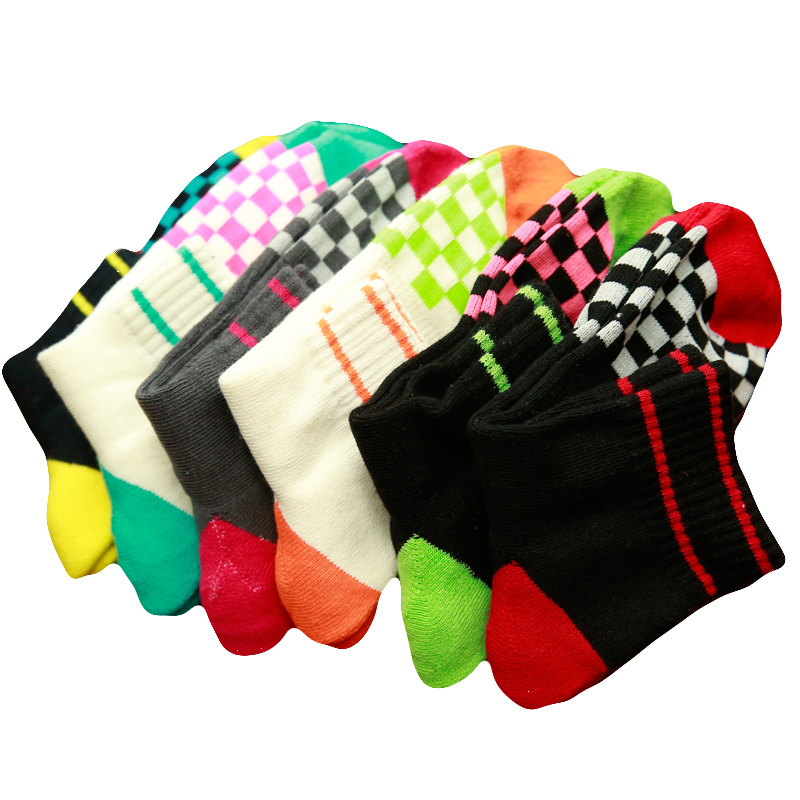 PEONFLY Good quality men Socks Cotton happy funny novelty colorful Striped box stitching pattern 6pairs/lot