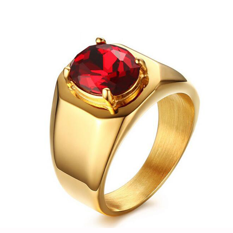 Men Titanium Red Stone Ring Gold-Color Stainless Steel AAA+ Cubic Zirconia Wedding Engagement Ring for Men
